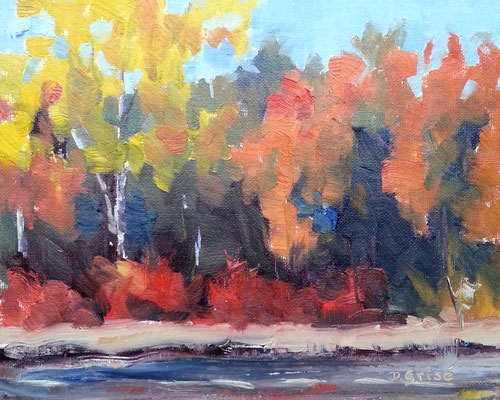 By The Pond 2     10x8 oil             Lesson in mixing and muting fall colours.              75