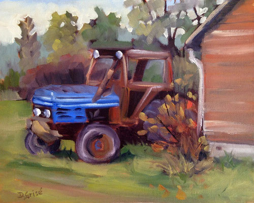 Blue Tractor - Double Door Gallery & Studios, Anten Mills    -   10x8 oil  -  Currently showing at Orillia Museum of Art & History