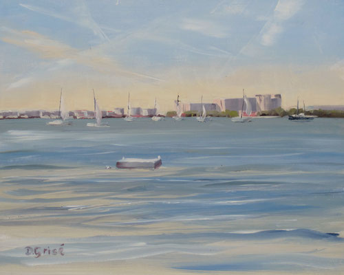 Sailing on Boca Ciega Bay - Bermuda Bay Resort, St.Petersburg, FLA  -   10x8 oil - unframed    -   125.