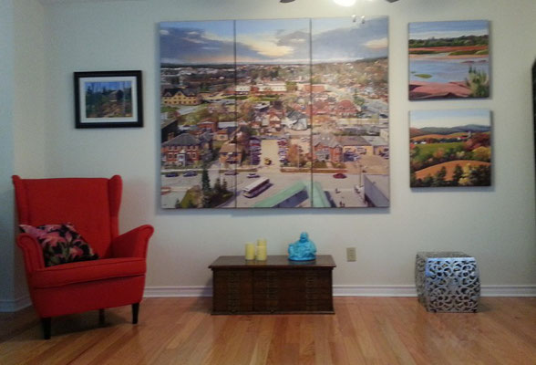 City of Barrie (triptych) 72 x 60 in room setting.