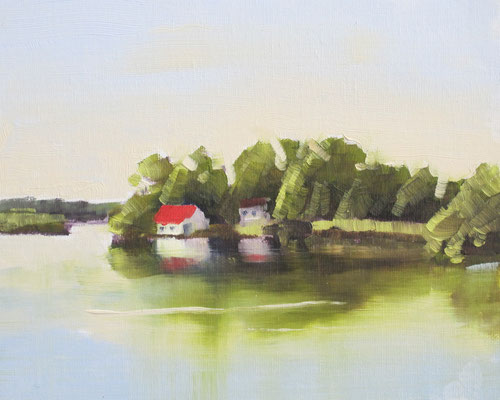Port Severn 3  10x8 oil      Demo showing reflections on still water.                        75