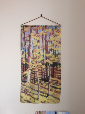 Silk Wall Hanging - Autumn Birch