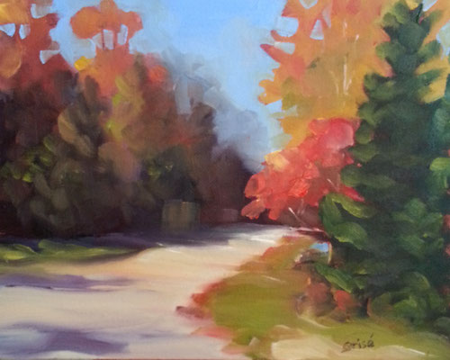Autumn Road 5   10x8 oil             Lesson in mixing and muting fall colours.              75