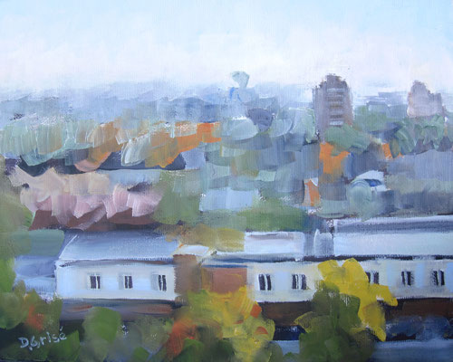 March Mist - Central Collegiate, Barrie    -  10x8 oil - unframed    -    125.