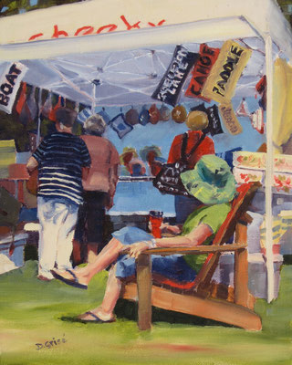 Rosseau Market  (featuring Debrah McInnis of Cheeky Fibre) -   8x10 oil - unframed    -   125. + shipping    To purchase or view, please contact me.
