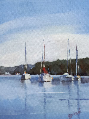 Safe Harbour - postcard size oil painting - available through Twitter Art Exhibit 2020 in support of Horry County Disabilities & Special Needs (HCDSN) in Mrytle Beach, SC.