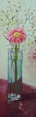 Shasta And Baby's Breath - 3x9 oil on canvas board - unframed   40. CAD + shipping