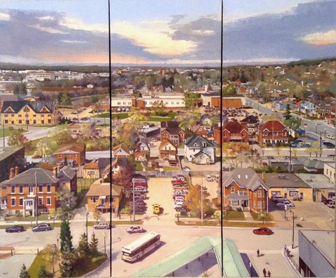 City of Barrie (triptych)   72x60 oil on gallery canvas  8650. CAD no frame needed. To purchase or view, please contact me.