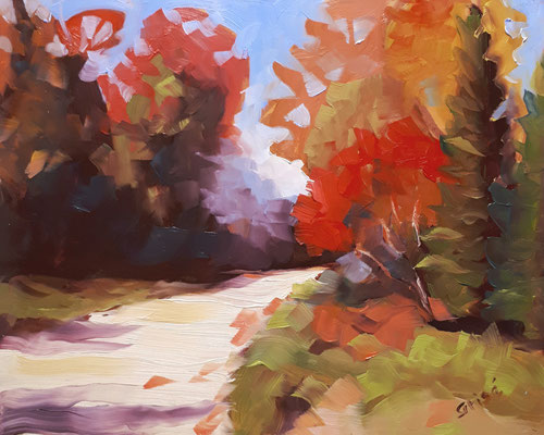 Autumn Road    10x8  oil on canvas board - unframed             125.+ shipping