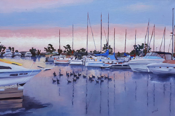 Evening At The Marina     36x24 oil on gallery canvas.    1300. CA   18x14 oil    To purchase or view, please contact me.