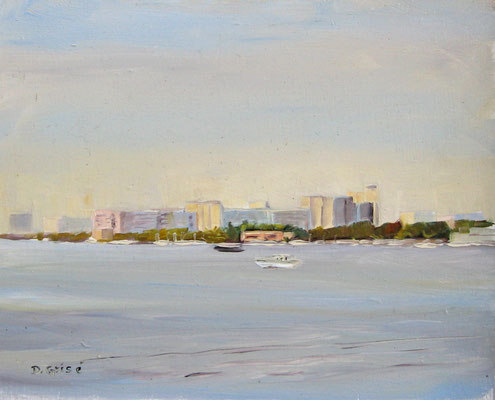 View From The Beach - Bermuda Bay Resort, St.Petersburg, FLA  -   10x8 oil - unframed    -   125. + shipping    To purchase or view, please contact me.