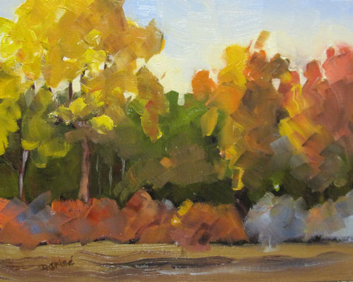Fall Colours 1   10x8 oil            Lesson in mixing and muting fall colours.              75