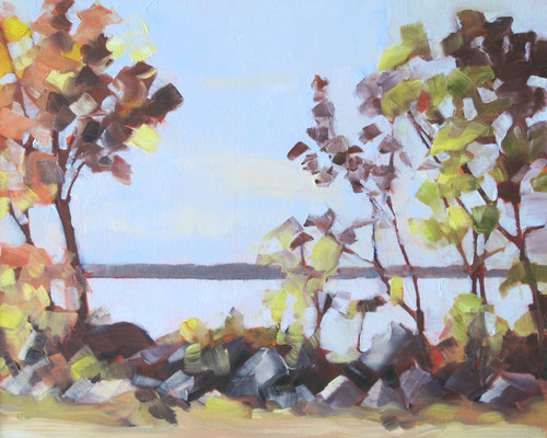 Balm Beach - from parking lot -    10x8 oil - unframed   -    125.