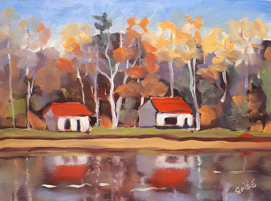 Dwight Cabins -  12x9  oil on canvas board - unframed             135.+ shipping
