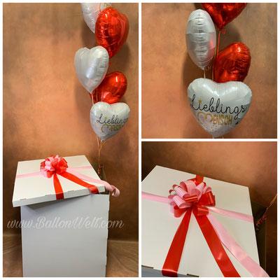 Box 15,00€ /Schleife 5,00€/ 3xUni Folienballon 14,00€ / 2x Bedruckte Folienballon 15,00€ / Gewicht 2,00€ /Gesamtbetrag: 58,00€