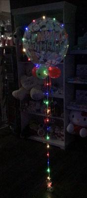 """Ein Bubbles Ballon mit Helium (Schwebedauer min 2 Wochen) mit 4x5"""" Dekoballons, Bänder, Gewicht 17,99€ + 3m.LED Lichterkette mit Batterien 5,00€"""