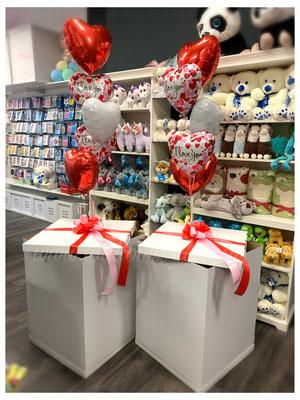 Box 15,00€ /Schleife 5,00€/ 3x Uni Folienballon 21,00€/ 2x Bedruckte Folienballon 14,00€/ Gewicht/ Gesamtbetrag: 57,00€