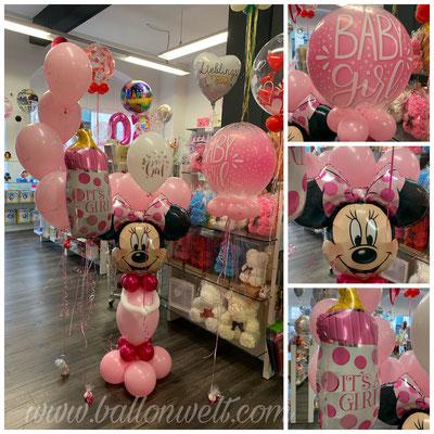 """Minnie Figur Preis: 26,00€ 5x 11"""" Its a Girl mit Gewicht Preis: 16,50€ Bubbles inkl. 4x5"""", Gewicht, Bänder, Helium Preis: 18,00€"""