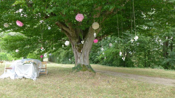 cérémonie d'extérieur. vases de fleurs suspendus