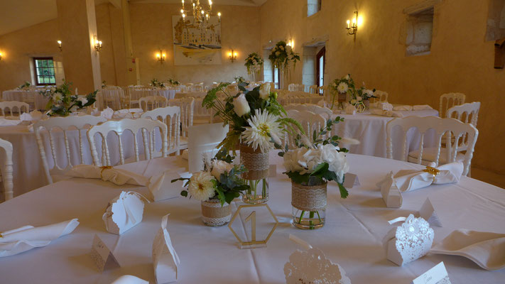 Centre de table entre 15 et 20 euros en fonction des fleurs