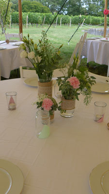 centre de table mariage trilogie de vases 20 euros