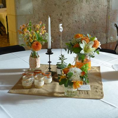 centre de table mariage 4 euros, 6 euros et 8 euros
