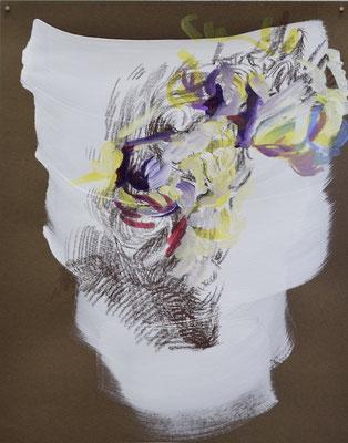 128 [Oil on paper, Gesso, Conte, 24.9x19.7cm, 2019]