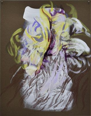 1214 [Oil on paper, Gesso, Conte, 24.9x19.7cm, 2019]