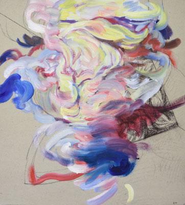 410  [Oil on paper, Gesso, Conte, 33x30cm, 2019]