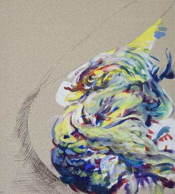 013  [Oil on paper, Gesso, Conte, 33x30cm, 2019]