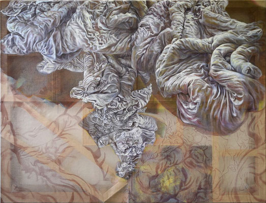 You, life and free-structure   [Oil on transparent canvas, 130x170cm, 2020]