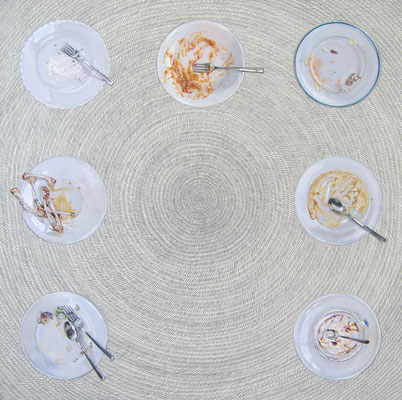 Swirl-Daily scene (Meal) [Acrylic on canvas, Pencil, 146x146cm, 2006]