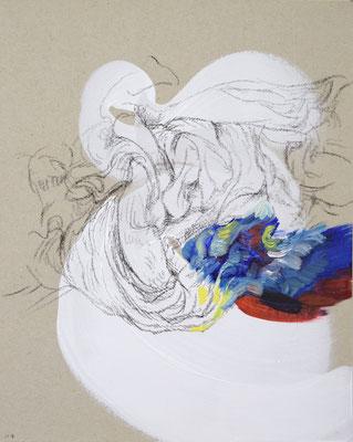 114  [Oil on paper, Gesso, Conte, 25x17.7cm, 2019]