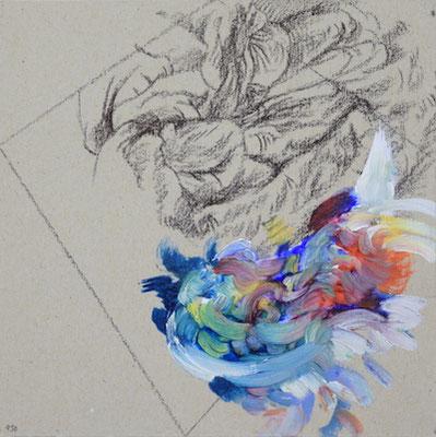 950  [Oil on paper, Gesso, Pencil, 15x15cm, 2019]