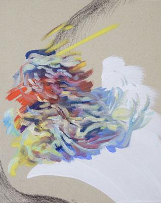 131  [Oil on paper, Gesso, Conte, 25x17.7cm, 2019]