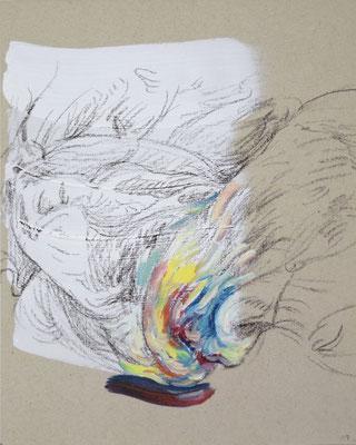 117  [Oil on paper, Gesso, Conte, 25x17.7cm, 2019]
