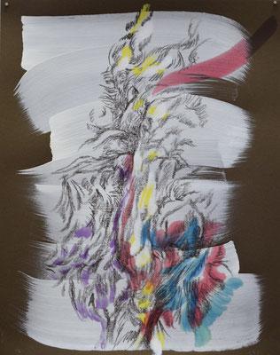 241 [Oil on paper, Gesso, Conte, 24.9x19.7cm, 2019]
