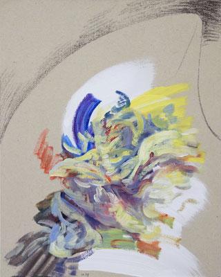 1239  [Oil on paper, Gesso, Conte, 25x17.7cm, 2019]