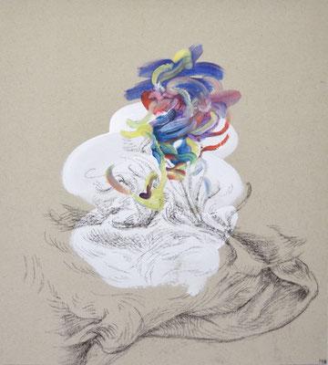 942   [Oil on paper, Gesso, Conte, 33x30cm, 2019]