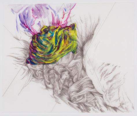 317 [Oil on Tracing paper, Conte, Pencil, 360x300mm, 2018]