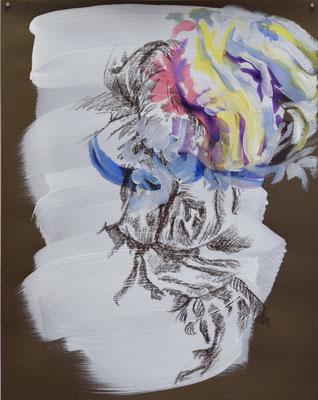 126 [Oil on paper, Gesso, Conte, 24.9x19.7cm, 2019]