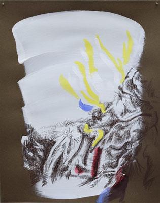 1229  [Oil on paper, Gesso, Conte, 24.9x19.7cm, 2019]