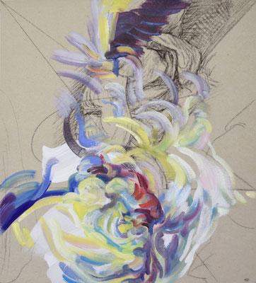 430  [Oil on paper, Gesso, Conte, 33x30cm, 2019]