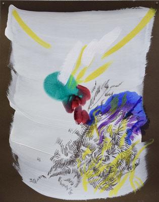 2131 [Oil on paper, Gesso, Conte, 24.9x19.7cm, 2019]