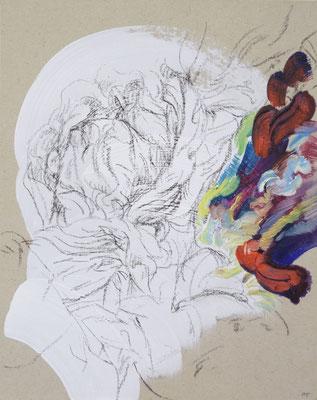 115  [Oil on paper, Gesso, Conte, 25x17.7cm, 2019]