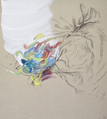 927  [Oil on paper, Gesso, Conte, 33x30cm, 2019]