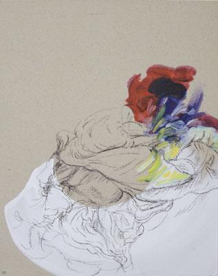 116  [Oil on paper, Gesso, Conte, 25x17.7cm, 2019]