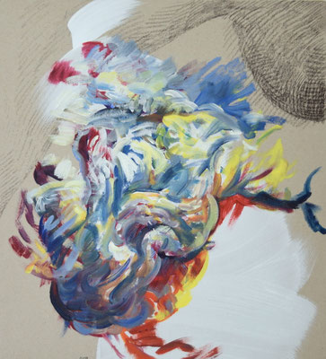 0179  [Oil on paper, Gesso, Conte, 33x30cm, 2019]