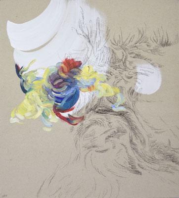 1655 [Oil on paper, Gesso, Conte, 33x30cm, 2019]