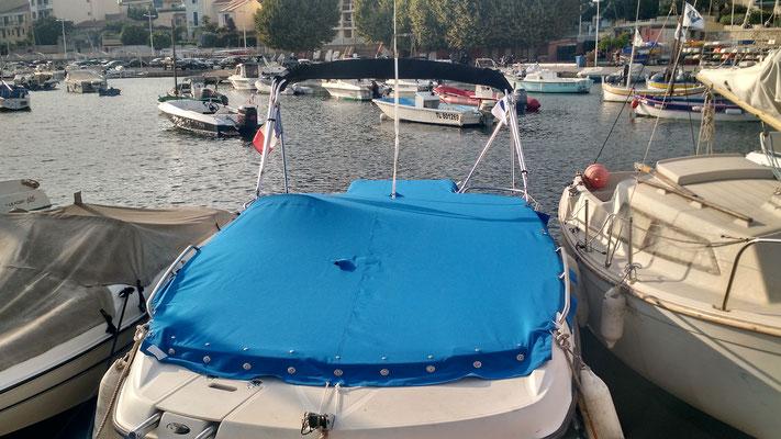Taud d'hivernage de bateau en toile acrylique Sunbrella Plus Blue Artic